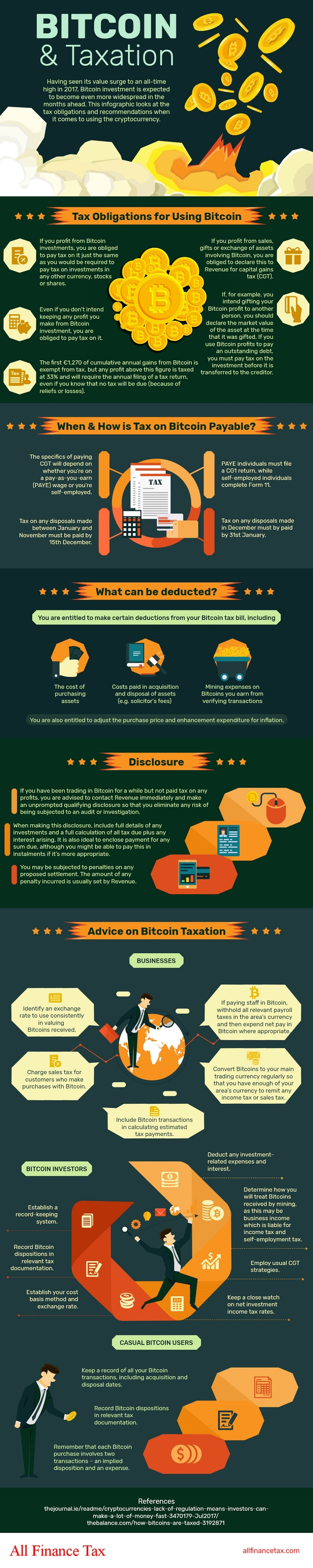 Bitcoin and taxation Infographic. How to declare your taxes properly.
